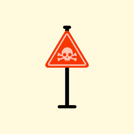 skull danger road sign