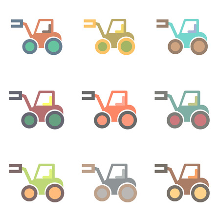 Vector illustration in flat style Tractor collection, work vehicles set