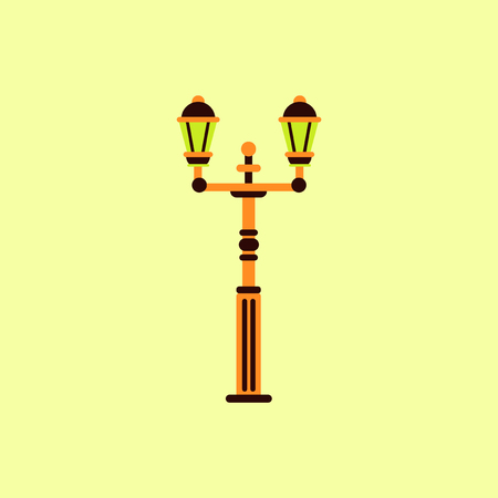 Retro vintage lamp post with electricity lantern vector illustration