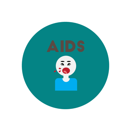 safe sex: Vector icon  on  circle various symptoms of AIDS on the human