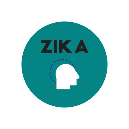 pest control: Vector icon  on  circle various symptoms of Zika on the human Illustration