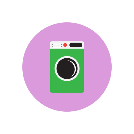 dirty clothes: Vector icon on the white backgrounds in circles washing machine Illustration