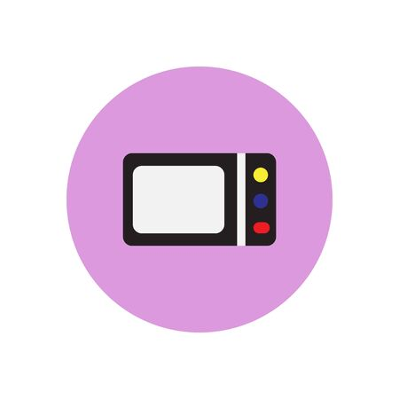 black appliances: Vector icon on the white backgrounds in circles  microwave