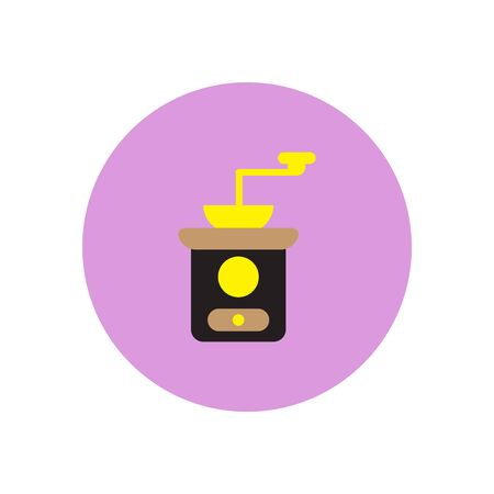 Vector icon on the white backgrounds in circles retro coffee grinder