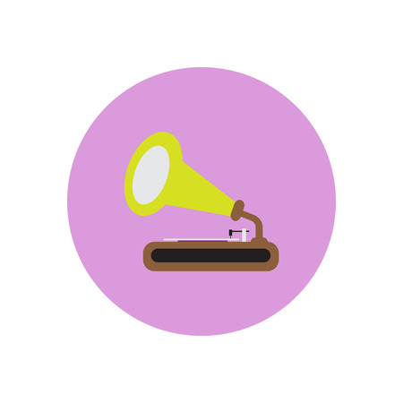 Vector icon on the white backgrounds in circles retro gramophone Illustration