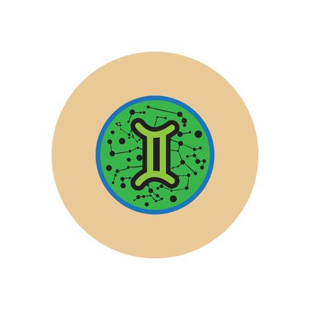stylish icon in color circle Zodiac sign Gemini Vektorové ilustrace