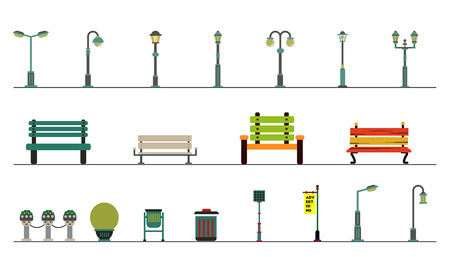 decorative urn: Light posts and outdoor elements for construction of landscapes. Vector flat illustration. park equipment