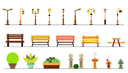 decorative urn: Lights and outdoor elements, bench, fountain, urn. Set of elements for construction of urban and village landscapes. Vector flat illustration Illustration