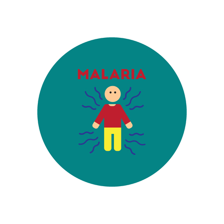 infectious disease: Vector icon  on  circle various symptoms of Malaria on the human