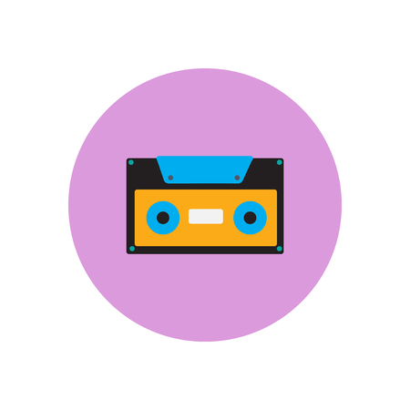 Vector icon on the white backgrounds in circles retro music cassette