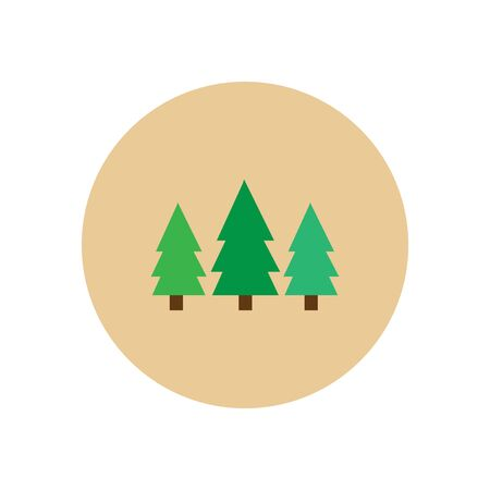 newyear: Stylish icon in  circle Landscape Fir Trees