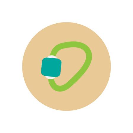 mountaineering: Stylish icon in  circle Mountaineering carabiner tool Illustration