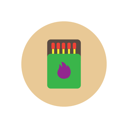 burning paper: Stylish icon in  circle Matchbox and matches