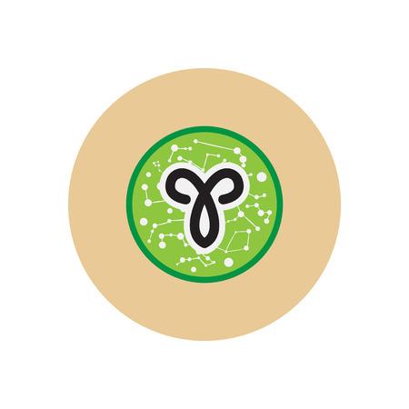 aries: Elegante icono en el círculo de color Signo del zodiaco Aries