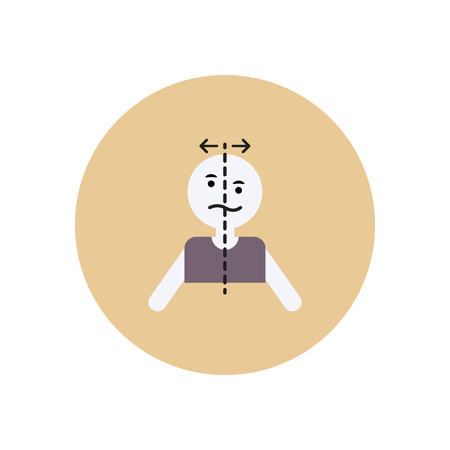 myocardial infarction: Stylish icon in color  circle attack stroke face Illustration
