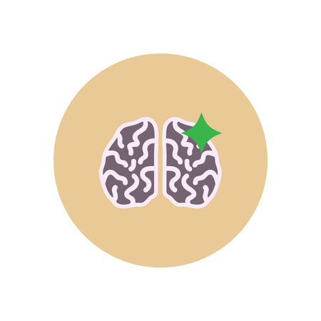 Stylish icon in color  circle brain stroke Illustration