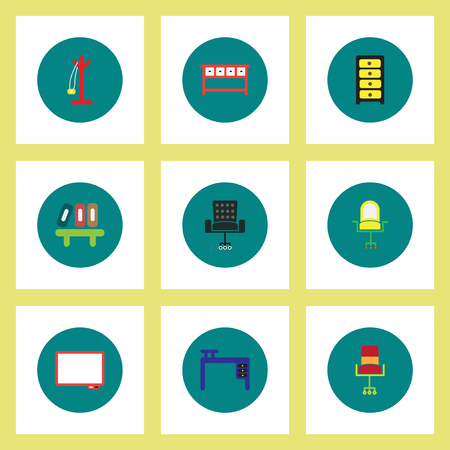 Collection of stylish vector icons in colorful circles Office Furniture Ilustracja