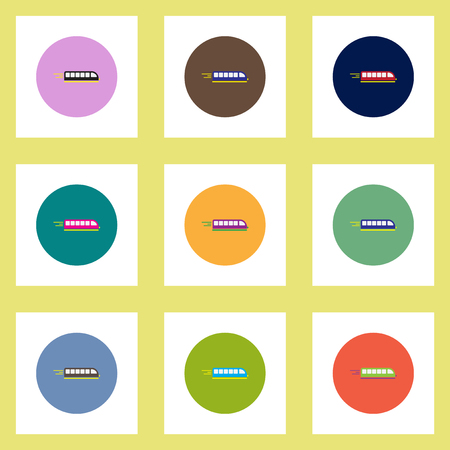 high speed train: Collection of stylish vector icons in colorful circles high-speed train