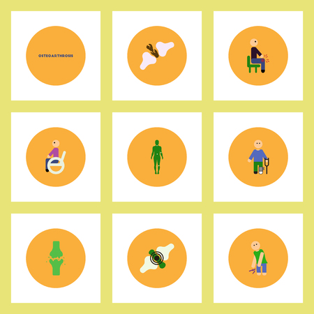 Collection of stylish vector icons in colorful circles body osteoarthritis