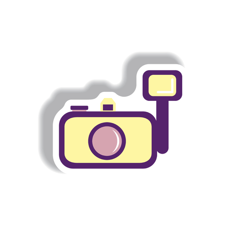 Vector illustration in paper sticker style camera