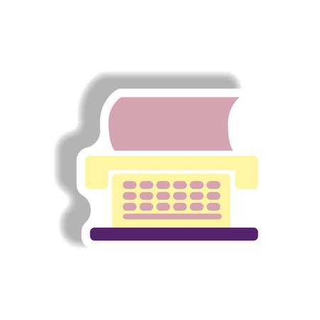 Vector illustration in paper sticker style typewriter