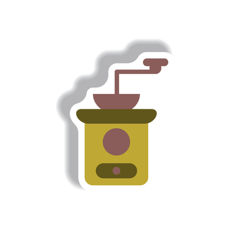 Vector illustration in paper sticker style retro coffee grinder