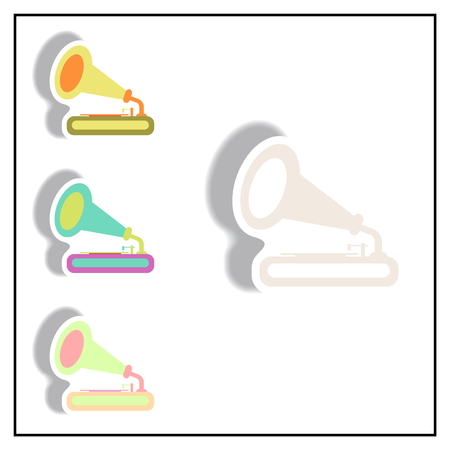 restored: Collection of Vector illustration in paper sticker style retro gramophone Illustration