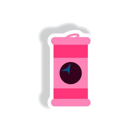 trash danger: stylish icon in paper sticker style iron barrel Illustration