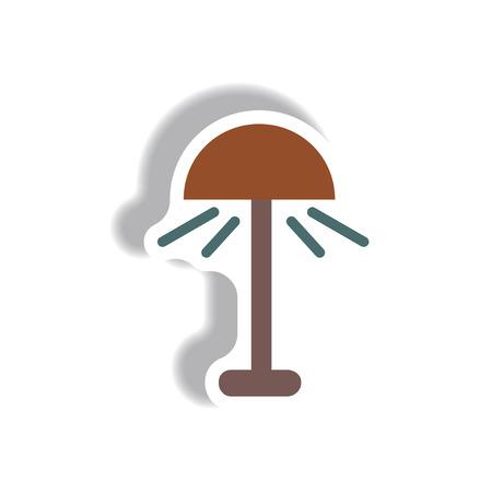 Vector illustration in paper sticker style floor lamp Illustration