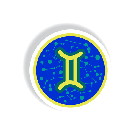 stylish icon in paper sticker style Zodiac sign Gemini Vektorové ilustrace