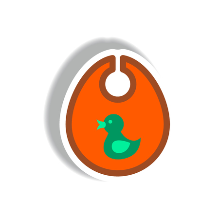 stylish icon in paper sticker style children bib duck