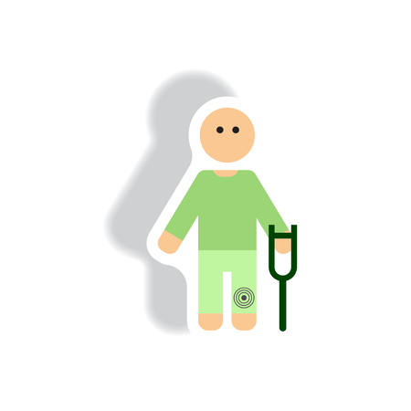 stylish icon in paper sticker style man with crutch