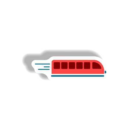 high speed train: stylish icon in paper sticker style high-speed train