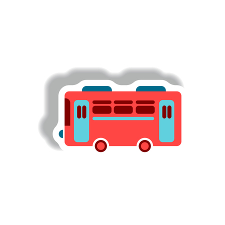 stylish icon in paper sticker style retro bus Illustration