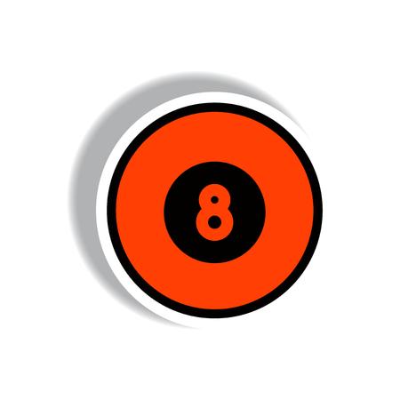 8 ball: stylish icon in paper sticker style billiard ball Illustration