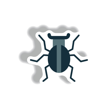 stag beetle: stylish icon in paper sticker style beetle insect