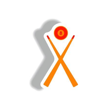 billiard ball: stylish icon in paper sticker style Billiard ball cue