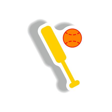 stylish icon in paper sticker style ball baseball bat