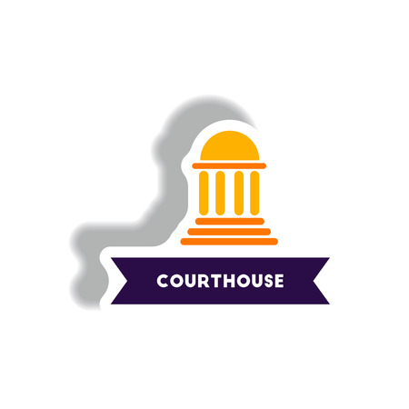 scale icon: stylish icon in paper sticker style building courthouse