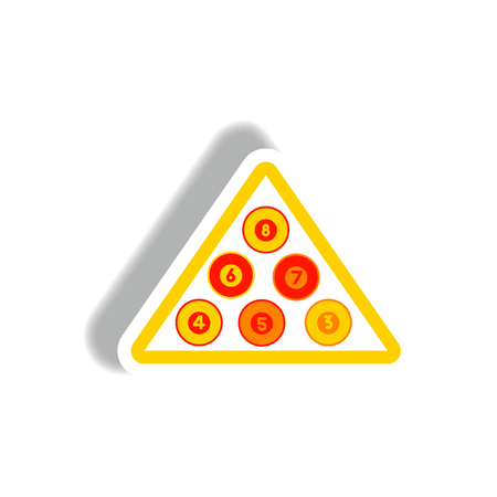 stylish icon in paper sticker style Billiard balls triangle Illustration