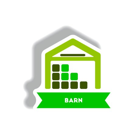 stylish icon in paper sticker style building barn