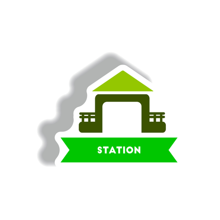 stylish icon in paper sticker style building Station