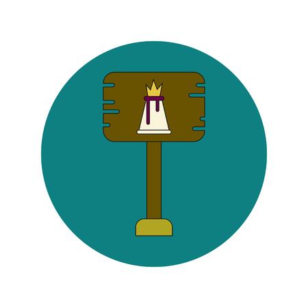 Vector illustration in flat design of volcano explosion sign