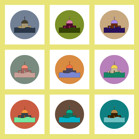 flat icons set of building that has been flooded concept on colorful circles