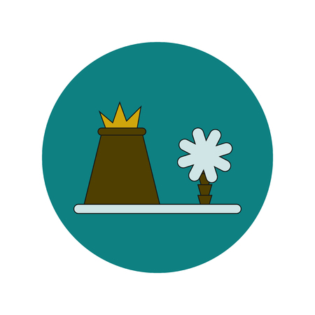 Vector illustration in flat design of volcano explosion and tree Illustration