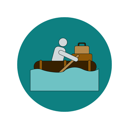 Vector illustration in flat design of man on raft in flood