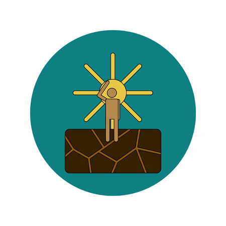 parched: Vector illustration in flat design of cracked earth and hot sun Illustration