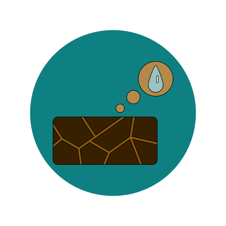 Vector illustration in flat design of cracked earth and water drop