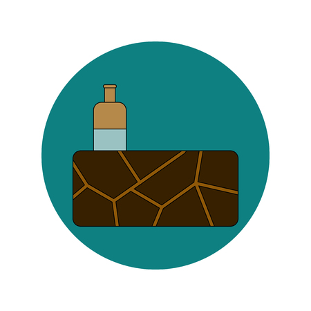 parched: Vector illustration in flat design of cracked earth and bottle of water Illustration
