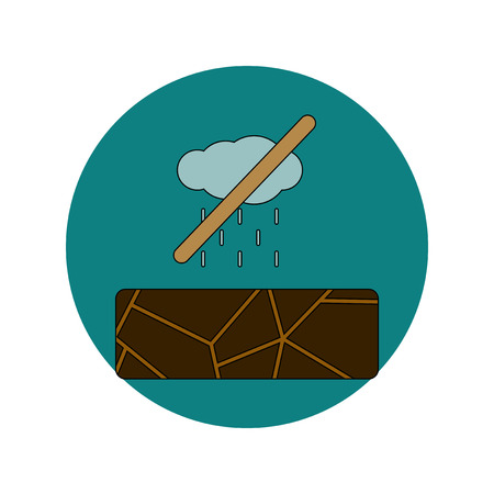 Vector illustration in flat design of cracked earth and no rain
